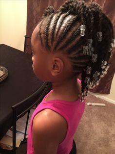 Simple cornrows, braids, little girl braids, black hairstyles, beads, French braids for little girls, natural look, beads and braids, twist, two strand twist, Zariya's hair.