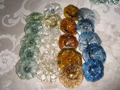 Lot 4 of 20 Vintage Carved Glass Beads Flowers for chandelier parts