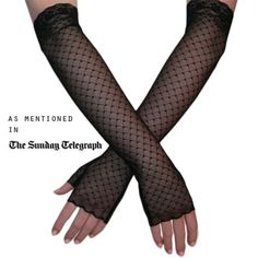 Ladies' Lace Gloves - Long Black Fingerless Lace Gloves  - Black.co.uk