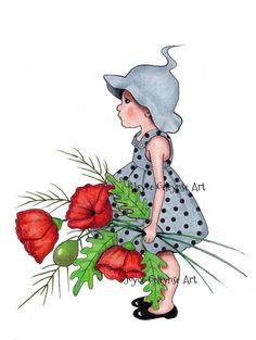 Clipart Hand Drawn Little Girl with Big by ToadstoolPrintables