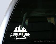 Adventure Awaits Decal - Vinyl Sticker, Vinyl Decal - Car Decal, Laptop Sticker, Windshield or Bumper Sticker by SaltCityGraphics on Etsy https://www.etsy.com/listing/235269762/adventure-awaits-decal-vinyl-sticker