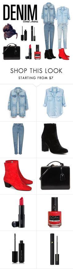 """#denim #headtotoe #bun #ootd #jeans #bun #perfect"" by stylishnut98 ❤ liked on Polyvore featuring LE3NO, Rails, Miss Selfridge, Witchery, Dorateymur, Mark Cross, Laura Geller, Piggy Paint, Marc Jacobs and Lancôme"