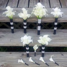 17 piece Real Touch White Calla Lily Bridal Bouquet Wedding