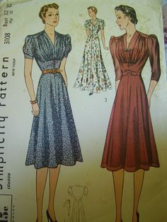 Vintage 1930s, 1940s Simplicity 3108 Dress, Evening Dress or Housecoat Sewing Pattern Bust 32. $16.50, via Etsy.