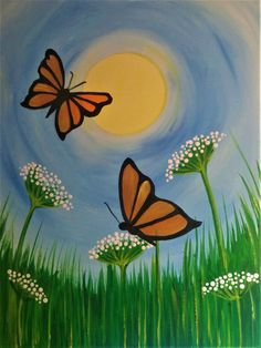 Flight of the Butterfly. Simple acrylic painting of butterflies and wild flowers. Flight of the Butterfly. Simple acrylic painting of butterflies and wild flowers. Simple Canvas Paintings, Small Canvas Art, Easy Canvas Painting, Mini Canvas Art, Spring Painting, Acrylic Painting For Kids, Painting Art, Painting Gallery, Art Mini Toile