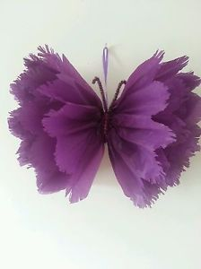 Party-wedding-baby-shower-butterfly-frayed-wall-decorations-tissue-paper-pompoms