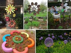 Truly Easy and Low-budget DIY Garden Art Flowers