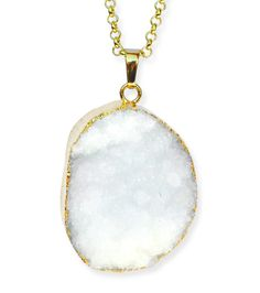 Gold and White Druzy Necklace | Justine Brooks Design | Handmade Natural Silver Jewelry #gold #white #druzy #pendant