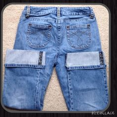 """INC Jewel Embellished Jean Capris, Size 10P INC Jewel Embellished Jean Capris, Size 10P, super cute and comfy, gold jewels on belt loops and hem line, fits more like an 8-9, true waist 30"""", inseam 22"""", rise 8""""  trades  wear ✅ bundle discounts only ✅ pet and smoke free home INC International Concepts Jeans Ankle & Cropped"""