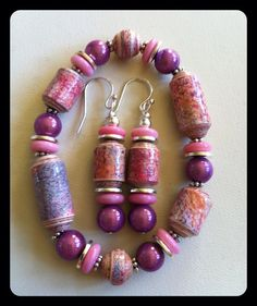 Pink purple paper beaded bracelet with matching by TheSilverMoon, $26.00