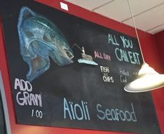 All you can eat fish and chips sign,Aioli Seafood Restaurant 103-192 W Island Highway, Parksvill