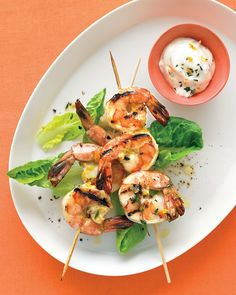 Orange And Thyme Grilled Shrimp - large shrimp - orange - 2 garlic cloves - olive oil - fresh thyme - light mayo