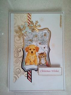 Using the hHunkydory Santa Paws collection to create a simple but pretty card ideal for a couple, pet lovers or various other people Christmas Wishes, Christmas Cards, Hunky Dory, Pet Lovers, Pretty Cards, Card Making, Santa, Happiness, Couple