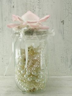 Mason Jar Shabby Style Decor Handmade by SweetShabbyShack on Etsy