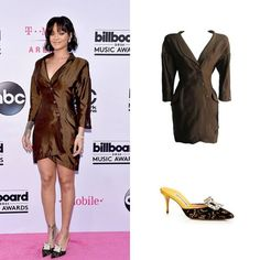 #Rihanna's fashion during #BBMAs: Silk dress from #ThierryMugler's 1988 Spring collection and embellished mules by #ManoloBlahnik.