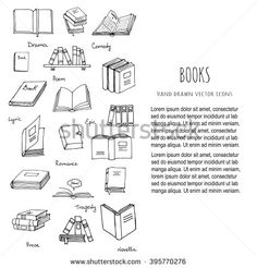 Hand drawn doodle Books and Reading set Vector illustration Sketchy set of book icons elements Vector symbols of reading and learning Educational club illustration Education logo element Comedy Poems, Doodle Books, Reading Library, Education Logo, Book Tattoo, Vector Hand, Bullet Journal Inspiration, Wedding Book, Book Lovers