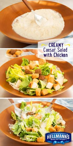 There's a secret to this delicious and flavorful Creamy Caesar Salad recipe…Hellmann's Light Mayonnaise of course! For an easy way to dress your salad, combine Parm cheese, lemon juice, garlic and mayonnaise in a bowl, then toss in crisp lettuce and juicy bites of chicken. Mix together and top with homemade croutons for an added crunch.