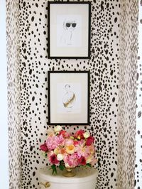 bathroom: gorgeous Powder Room Makeover from Suburban Faux Pas using Charcoal Dots Wallpaper by Domesticate Decoration Inspiration, Bathroom Inspiration, Interior Inspiration, Bathroom Wallpaper, Print Wallpaper, Spotted Wallpaper, White Wallpaper, Powder Room With Wallpaper, Cheetah Wallpaper