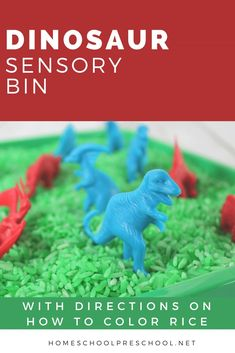 Dinosaur sensory play is perfect for dino lovers of all ages! This sensory bin is super simple to put together! Dinosaur Theme Preschool, Dr Seuss Activities, Playdough Activities, Sensory Activities Toddlers, Dinosaur Activities, Preschool Books, Preschool Themes, Hands On Activities, Free Activities