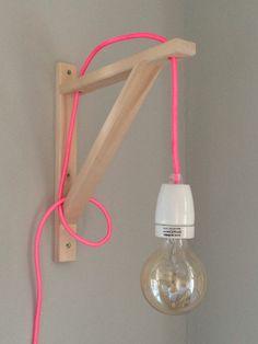 DIY Lampen Wandlampe Holzständer Kabel Lampe Pink