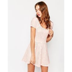 Club L Cross Back Skater Dress In Geo-Tribal Lace ($20) ❤ liked on Polyvore featuring dresses, pink, lace skater dress, pink wrap dress, stretch dress, wrap dress and lace overlay dress