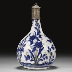 persian antique perfume bottle Iris Safavid blue 17th cen