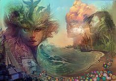 ''Belize'' by Android Jones Android Jones, Blue Dragon, Visionary Art, Green Man, Psychedelic Art, Fractal Art, Belize, Art Images, Fantasy Art