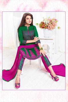 THANKAR Green   Pink Embroidered  Cotton Sami Lawn  Dress Material Online   thankar 9bf0fa528516b