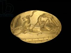 Seal ring depicting a bull-leaping scene, late Minoan, c.1500 BC (gold).