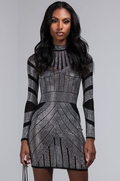 1f6b76bb824361 AKIRA Sexy Sequin Bodycon Dress with Long Sleeves in Black. Are you ready  for NYE?