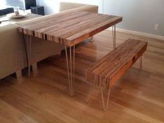 DIY Reclaimed Wood Table & Bench from re-nest. I LOVE this!!!! http://www.re-nest.com/re-nest/february-jumpstart-2009-entries/how-to-make-a-reclaimed-wood-table-and-bench-teds-february-jumpstart-project-2009-077145