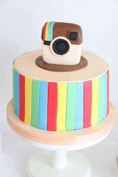 Cool cake at an Instagram birthday party! See more party ideas at CatchMyParty.com!