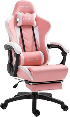 Buy Dowinx Gaming Chair Ergonomic Racing Style Recliner Massage Lumbar Support, Office Armchair Computer PU Leather E-Sports Gamer Chairs Retractable Footrest (White&Pink) online – Liketopclothing - Sala de juegos Ideas