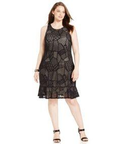 Alfani Plus Size Mixed-Print A-Line Dress | macys.com