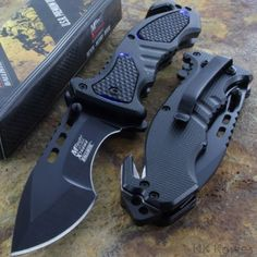 Black Tactical Spring Assisted Folding Pocket Knife Steel Blade Pocket Clip K15 #MTech