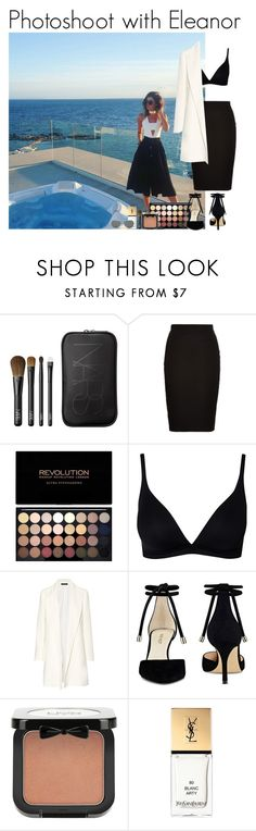 """""""Photoshoot with Eleanor"""" by mllestylesusa ❤ liked on Polyvore featuring Calder, NARS Cosmetics, Louche, CALIDA, The Row, Nine West, NYX, Yves Saint Laurent and Ray-Ban"""