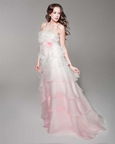 Tiered ombre wedding dress