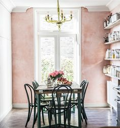 The oft-Instagrammed UK kitchen of a food blogger features pink plaster walls that evoke an Italian country house. See Kitchen of the Week: Skye McAlpine's London Flat by Jersey Ice Cream Co.