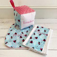 Ladybugs for London! Custom Baby Gifts, Personalized Baby, Baby Girl Gifts, New Baby Gifts, Baby Ladybug, Clothes Line, Ladybugs, Burp Cloths, Baby Bibs
