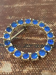 Rhinestone Circle Brooch Sapphire Blue  - product image