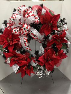 Black Tinsel Wreath  Black and Red Christmas Wreath w/Deco Mesh  by Christian Rebollo for store 1552