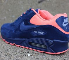 Nike Air Max 90 navy suede with a pop of neon coral.