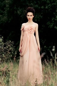 One shoulder Lace up Floor Length Chiffon Dress with Handmade Flowers