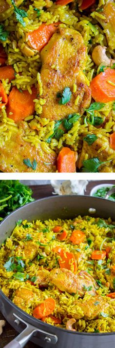 Chicken Biryani (30 Minute Indian Chicken & Rice) from The Food Charlatan. This stove top Chicken Biryani is a delicious 30 minute dinner! You could also call it Indian Chicken and Rice. It's so easy to make and is a healthy weeknight dinner that everyone will love!#chicken #chickendinner #easy #recipe #indian #indianfood #30minutes #dinner #healthy #carrots #onion #cilantro #cashew #stovetop #oneskillet #onepot #rice #basmati #spices #curry #vegetable #skillet Curry Recipes, Rice Recipes, Asian Recipes, Chicken Recipes, Cooking Recipes, Healthy Recipes, Indian Food Recipes Easy, Kosher Recipes, Recipies