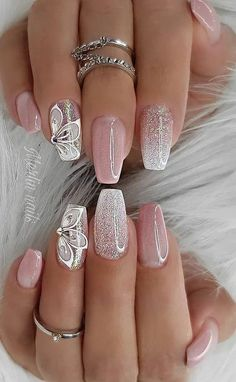 Best simple & elegant wedding nails for bride classy bridal, simple wedding nail designs for bride, classy wedding nail art design for bride! Looking for white and pink wedding nails, simple bridal nails wedding brides or short light pink nails with silver glitter? Find simple wedding nails for bride and wedding nails for bride bridal, wedding nails for bride acrylic #coffinnails #weddingnails #weddingnailsdesign #weddingnailsforbride #bridalnails #lightpinknails #shortnails #whitenails… Bright Nail Designs, Cute Summer Nail Designs, Pretty Nail Designs, Nail Art Designs, Summer Design, Nail Polish Designs, Nail Designs For Toes, Best Nail Designs, New Years Nail Designs