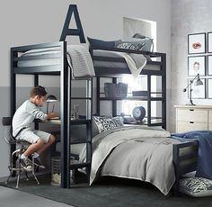 Boy bedroom. Restoration Hardware varsity option with basketball theme...