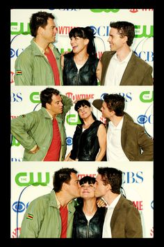 Pauley Perrette getting a kiss from Michael Weatherly & Brian Dietzen. lucky gal XD