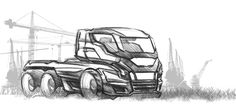 Here's an interesting concept truck sketch by Zion Wu at Coroflot.