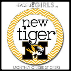 Monthly Onesie Stickers with Missouri Tigers for Baby Boys or Girls Mizzou Tigers by HeadsUpGirlsBaby, $10.00