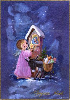 Joyeux Noël - Dans la nuit un ange éclairant la Madone d'un oratoire avec une lampe, son âne porte une hotte chargée de cadeaux - 1966 (from http://mercipourlacarte.com/picture?/1387/)